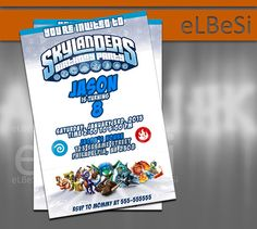 Skylanders Birthday Invitation inspired  - Invitation Card