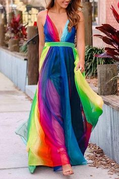 May 2020 - Gorgeous rainbow dress with mesh overlay! Dress has 2 high slits in the lining and adjustable straps in the back. This dress is beautiful and looks great on almost everyone! Details: Material: Chiffon SIZE(IN) Bust Waist Length S M L XL Backless Maxi Dresses, Prom Dresses, Dress Prom, Formal Maxi Dresses, Party Dress, Rainbow Wedding Dress, Rainbow Dresses, Womens Rainbow Dress, Rainbow Fashion