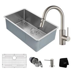 Handmade All-in-One Undermount Stainless Steel (Silver) 32 in. Single Bowl Kitchen Sink with Faucet in Stainless Steel