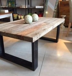 Simple wood and metal table Iron Furniture, Steel Furniture, Home Decor Furniture, Modern Furniture, Rustic Coffee Tables, Wooden Tables, Diy Outdoor Table, Home Living Room, Table And Chairs