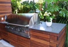 timber looks good here - if stone doesn't work or is too expensive?? Ipe, Grill, Counter, Built In Outdoor Kitchen Landscaping Network Calimesa, CA