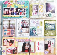 Photos spread over two 4x6s with patterned paper as the background.