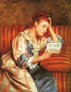 MARY CASSATT (1844-1926). Madame Duffee lisant un livre, 1876