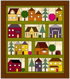 Sewing Quilts Elins kreative side: Come Over to My House; free BOM from Forever Green Quilts House Quilt Patterns, House Quilt Block, Paper Piecing Patterns, Quilt Block Patterns, Pattern Blocks, Quilt Blocks, Patchwork Quilting, Applique Quilts, Green Quilt