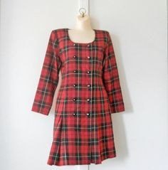 Red Tartan Dress Red Plaid Dress Scottish Dress by TheVilleVintage, $27.99