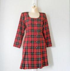 Red Tartan Dress Red Plaid Dress Scottish Dress by TheVilleVintage, $27.99
