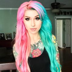 Airica Michelle rocking pastel pink and blue!