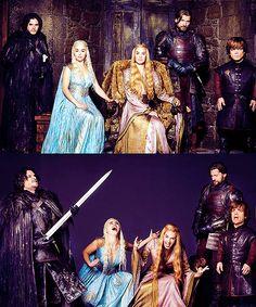 HBO's Game of Thrones (Season 2)    (left to right) — Jon Snow (Kit Harrington), Daenerys Targaryen (Emilia Clarke), Cersei Lannister (Lena Headey), Jaime Lannister (Nikolaj Coster-Waldau) and Tyrion Lannister (Peter Dinklage).