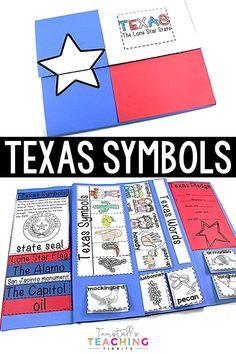 """Texas Symbols and Landmarks, A keepsake book all about the state of Texas for your social studies lessons! This social studies foldable book is packed with learning activities for first grade and second grade. There's information on important Texas buildings and resources. From the Texas pledge to descriptions and pictures for the state bird, flower, mammals, and so much more. For more about social studies classroom ideas on """"Texas Symbols and Landmarks"""" at www.tunstallsteachingtidbits.com"""