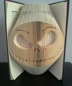 Book Folding PATTERN Cut and Fold,Jack Skellington, Nightmare before Christmas Nightmare Before Christmas Book, Book Sculpture, Paper Sculptures, Old Book Crafts, Paper Crafts, Folded Book Art, Paper Book, Book Projects, Clay Projects