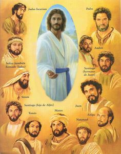 Jesus Christ and his 12 disciples. Image Jesus, Jesus Christ Images, Jesus Art, Bible Pictures, Jesus Pictures, Bible Art, Bible Quotes, Spiritual Images, Jesus Painting