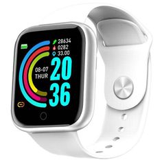 Waterproof Heart Rate Sensor Sport Clock For Android IOS - Unisex Mobile Monitor Blood Pressure Smartwatch Watch - White