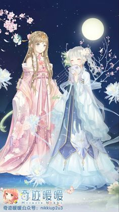 Two sweet girls in moonlight