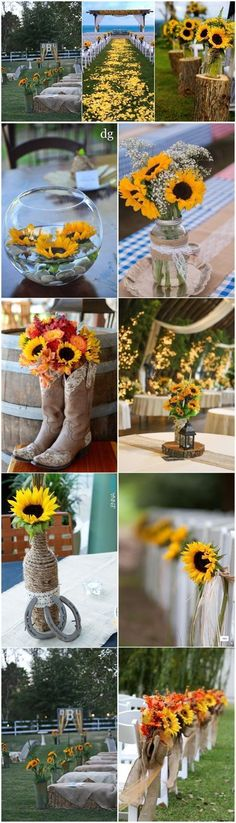 Rustic Weddings » 23 Bright Sunflower Wedding Decoration Ideas For Your Rustic Wedding! » ❤️ See more: http://www.weddinginclude.com/2017/04/sunflower-wedding-decoration-ideas-for-your-rustic-wedding/ #RusticWeddingIdeas #weddingdecoration