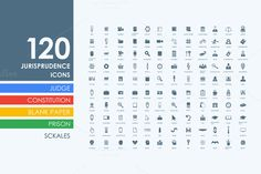 120 jurisprudence icons by Palau on Creative Market
