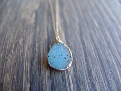 24K Speckled Baby Blue Druzy Agate Necklace by HFinnJewelry, $49.00