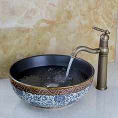 Bathroom Ceramic Basin Hand Painting Vessel Sink & Antique Brass Faucet & Drain