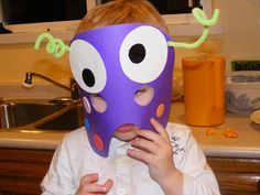Monster Birthday (by me) - Monster Masks.  This was a great activity to keep the kids busy at the party.  It took a lot of help from parents fro the preschool age group, but for older kids would have been great.