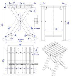 Folding stool plan - Assembly 2D drawing