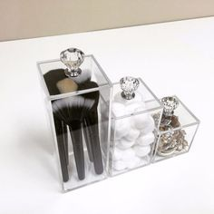 Clear Lucite Acrylic Makeup Brush Holder Diamond Handles Storage Container #TwinLilies