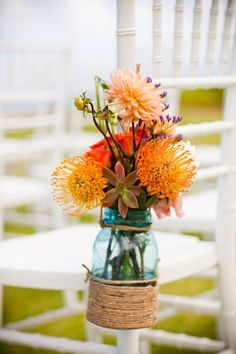 country rustic mason jar wedding flowers - what are those orange poof flowers? A Thousand Years, Wedding Bells, Wedding Events, Weddings, Flower Centerpieces, Flower Arrangements, Desi Wedding, Wedding Day, Friend Wedding