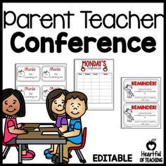 Parent Teacher Conference Forms EDITABLE Monday - Friday schedule sheets to keep track of all of your parent teacher conferences! #parentteacherconferences #conferences #editable