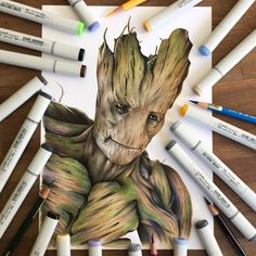 Groot drawing done with Copic Markers and pencils.