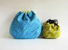 Reversible! Larger Round Drawstring Bag. Knitting project bag by SiamSquare