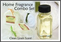 Clean Linen Scent Home Fragrance Combo Set - includes Natural Carpet Deodorizer & Home Fragrance Oil