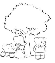 Babar Coloring Page Hide and Seek
