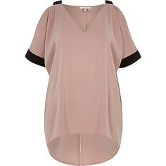 Pink contrast cold shoulder top - blouses - tops - women