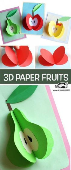 Ideas for fruit diy paper Projects For Kids, Craft Projects, Crafts For Kids, Arts And Crafts, Paper Crafts, 3d Paper Art, Paper Toys, Preschool Crafts, Preschool Activities