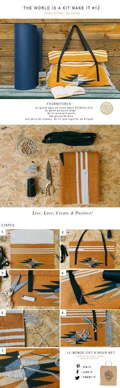 Tutorial Aztec & fringe Yoga Bag DIY – Purses And Handbags Diy Diy Sewing Projects, Knitting Projects, Diy Tote Bag, Purse Tutorial, Diy Handbag, Yoga Bag, Yoga Accessories, Boho Diy, Clothes Crafts