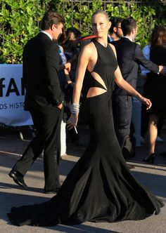 Amfar Gala in Cannes red carpet chic - Karolina Kurkova in a Roberto Cavalli dress and Bvlgari jewelry