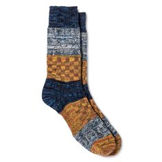Legale Women's Multi Texture Color Block Crew Socks - Blue One Size Fits Most