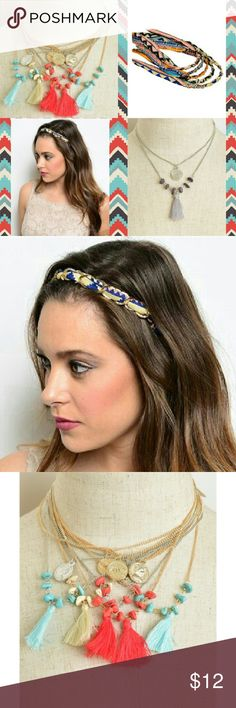 Set of Boho Tribal Aztec Headband and Necklace This set comes with a multicolored tribal headband and tassel necklace. Very boho and stylish! Boutique  Accessories Hair Accessories