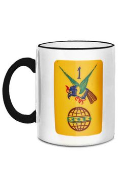 The Hawk and Globe tile shown on this beautiful mug is one of the top images prized by collectors of vintage Mah Jongg sets.