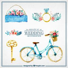 Watercolor cute wedding accesories Free Vector