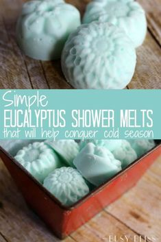 Simple Eucalyptus Shower Melts that will Help Conquer Cold Season Skip the Vicks and try homemade eucalyptus shower melts for colds instead! This tutorial shows you how to make easy aromatherapy melts with essential oils and baking soda. Homemade Beauty, Homemade Gifts, Diy Beauty, Homemade Products, Beauty Tips, Beauty Hacks, Beauty Soap, Diy Gifts, Bath Products