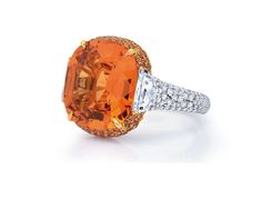 Another of Martin Katz's new designs is this sunset-orange ring, set with 10ct mandarin garnet.