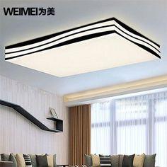 为美长方形LED吸顶灯节能客厅灯现代简约卧室灯饰创意波浪灯具-淘宝网