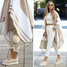 Neutral blanket poncho-Street style from the world's most stylish cities – Just Trendy Girls Mode Outfits, Winter Outfits, Summer Outfits, Casual Outfits, Fashion Outfits, Womens Fashion, Fashion Trends, Dress Fashion, Luxury Fashion