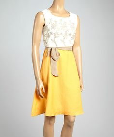Another great find on #zulily! Bitter Orange Floral Color Block Dress by Joy Mark #zulilyfinds