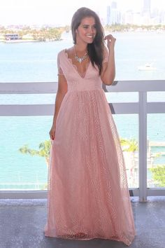 bf97f8086b0d This Blush V-Neck Maxi Dress with Short Sleeves Blush Bridesmaid Dresses