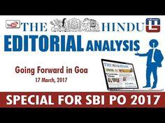 THE HINDU EDITORIAL : GOING FORWARD IN GOA   SBI PO 2017