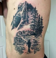 Guy With Shaded Tattoo Man Wandering Through Snowy Mountains