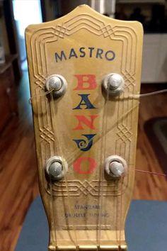 "Mastro ""Show Boat"" plastic banjo uke Banjo Ukulele, Show Boat, Gumbo, Musical Instruments, 1950s, Bling, Plastic, Logos, Art"