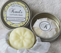 Lemon Ginger Solid Lotion Bar! Love the packaging!  The best essential oils for these come from www.mydoterra.com/HealingInTheHome