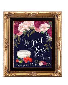 navy yogurt bar sign, printable yogurt Bar sign, digital yogurt bar sign, bridal shower sign, floral yogurt bar sign, 8 x 10, YOU PRINT by OurFriendsEclectic on Etsy