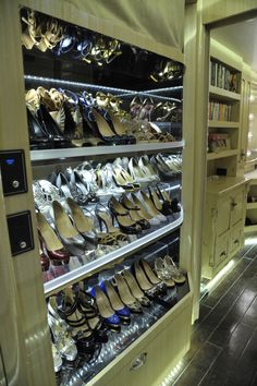 Ultimate Shoe Storage: Rotating Shelves on Kellie Pickler's Tour Bus. >> http://www.greatamericancountry.com/shows/celebrity-motor-homes/top-25-celebrity-motor-homes--pictures?soc=pinterest